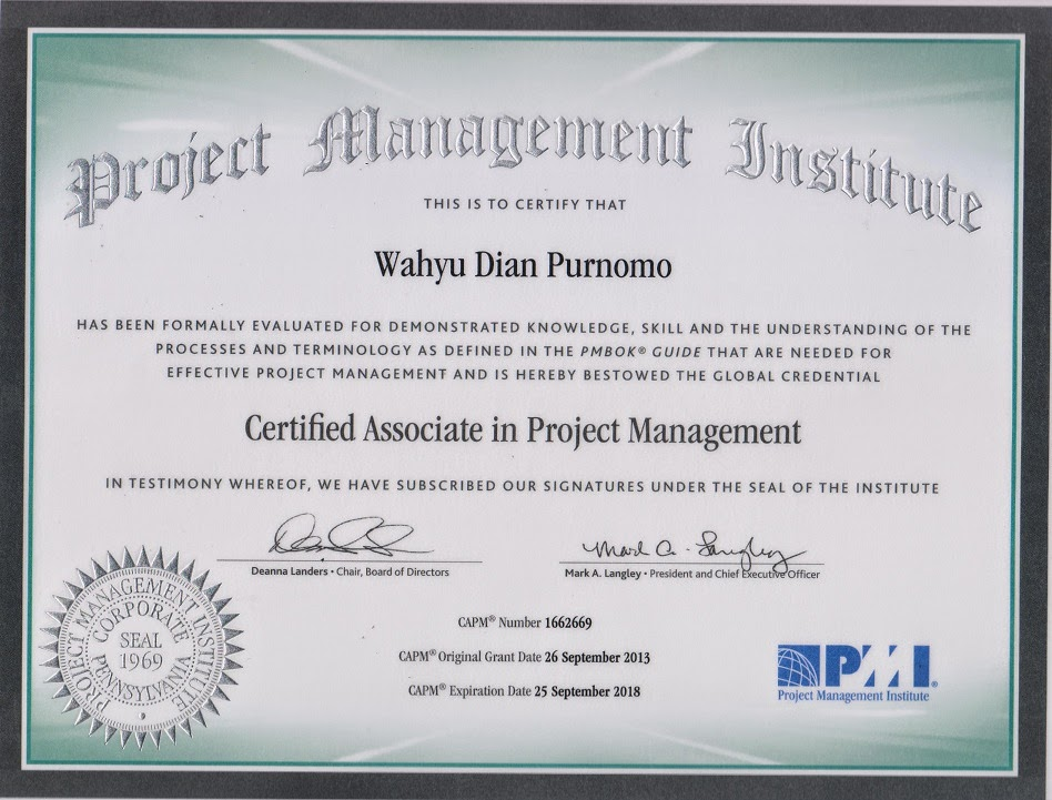 PMI Certified Associated in Project Management (CAPM), 2013