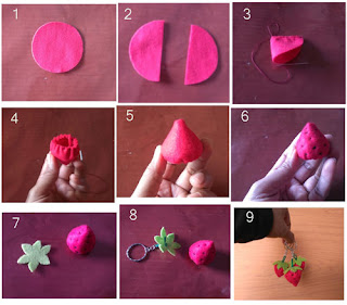 Tutorial membuat strawberry dari bahan flanel