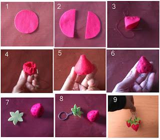 Tutorial membuat strawberry dari bahan flanel
