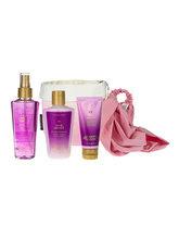 Victorias Secret Set cadou Love Addict (Spray de corp 125 ml + Lotiune de corp 125 ml + Crema de corp 60 ml + Bentita de par roz + Cosulet din material textil)