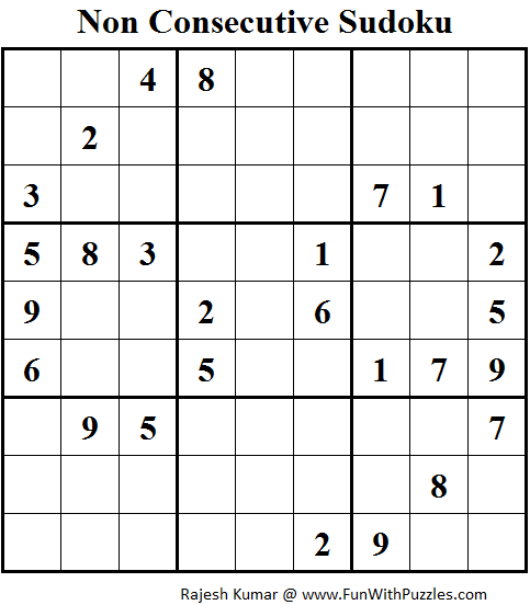 Non Consecutive Sudoku (Daily Sudoku League #124) India @ 69