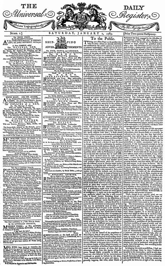 The Daily Universal Register, first issue