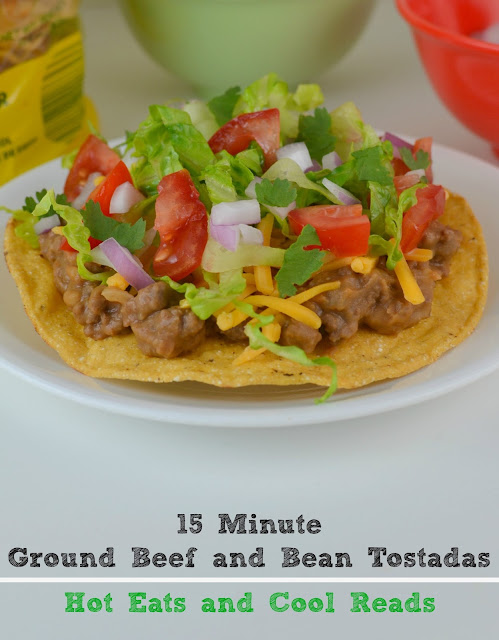 One of the fastest weeknight meals you can make and absolutely delicious! 15 Minute Ground Beef and Bean Tostadas from Hot Eats and Cool Reads