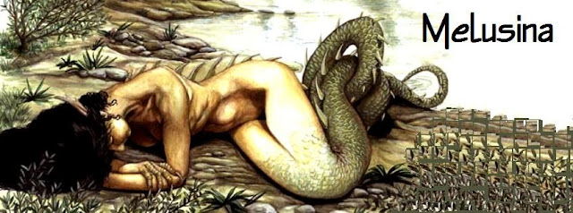 Melusina, sleeping on the river side, naked; she is half snake
