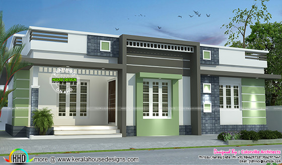 One floor box model home design