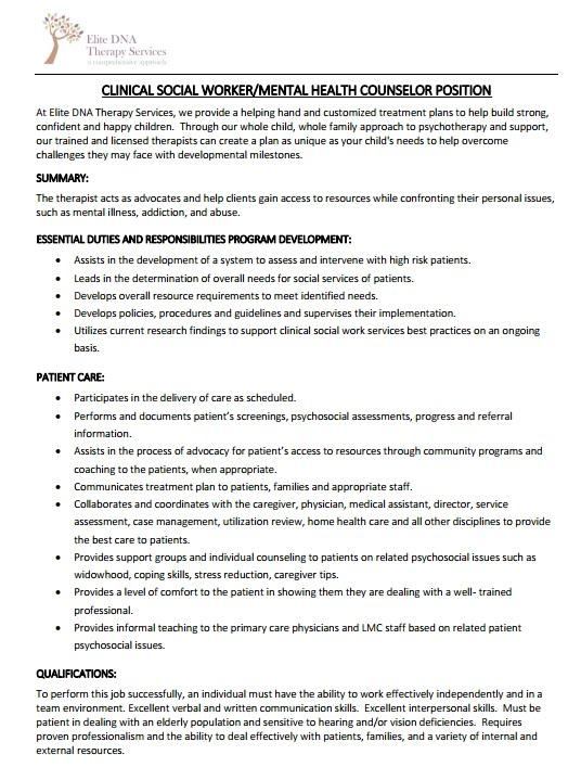 FGCU Graduate Programs in Counseling Clinical Social Worker/Mental - mental health counselor job description