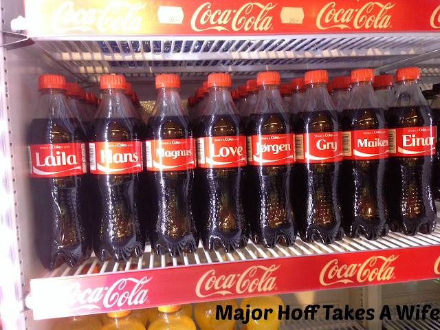 Coca-Cola personalized cans in Norway. Laila, Hans, Magnus, Love, Jorgen, Gry