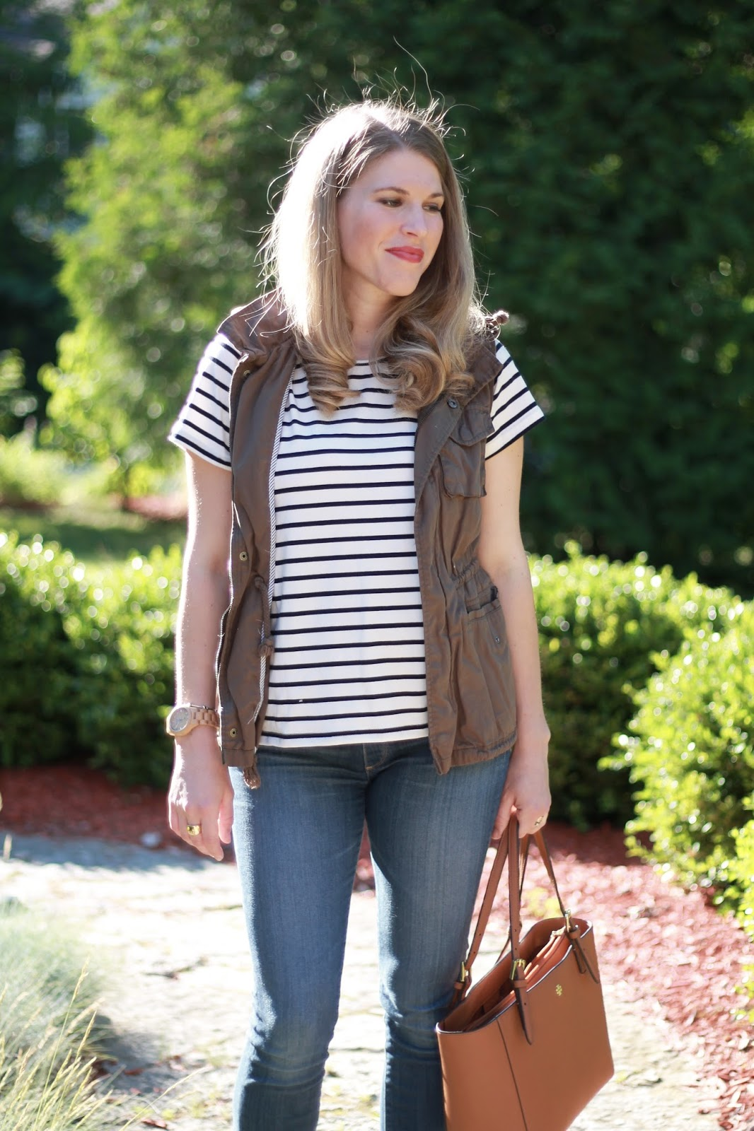 striped tee, utility vest, AG maternity jeans, Steve madden wedge sandals, Tory Burch tote, second trimester summer maternity outfit