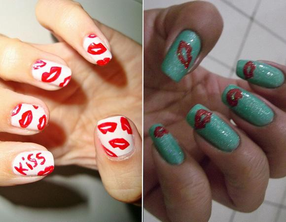 Decoração de unhas com desenhos de beijinhos