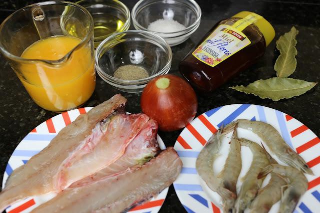Ingredientes para lubina en salsa de naranja