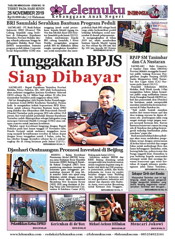 Tabloid Lelemuku #18 - Tunggakan BPJS Siap Dibayar - 25 November 2019