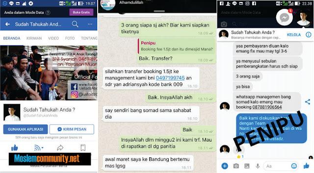 Awas! Penipuan Mengatasnamakan Ustadz Abdul Somad Melalui Facebook!