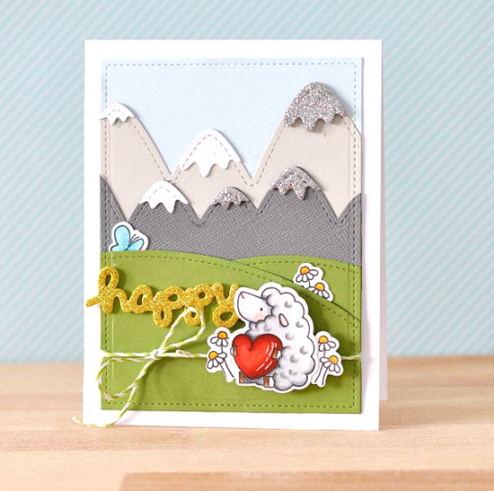 Birdie Brown Ewe Are the Best stamp set and Die-namics, Stitched Mountain Range Die-namics - Anna Ignatenko #mftstamps