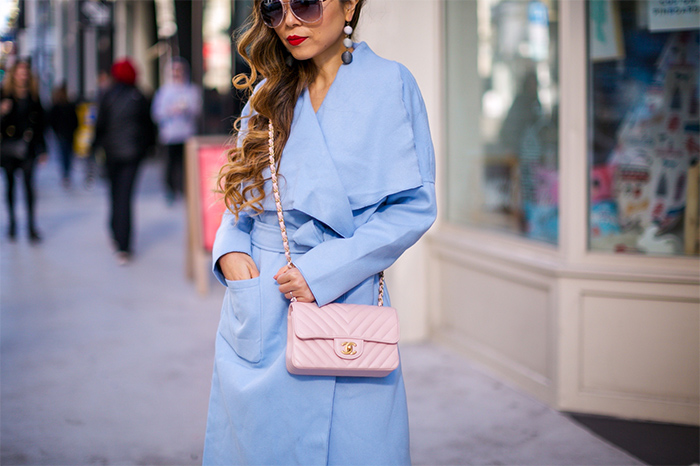 baby blue trench coat, pale pink chanel mini flap bag, baublebar earrings, quay sunglasses, 7fam skinny jeans, christian louboutin pink pumps, san francisco street style, san francisco fashion blog, pastel outfit