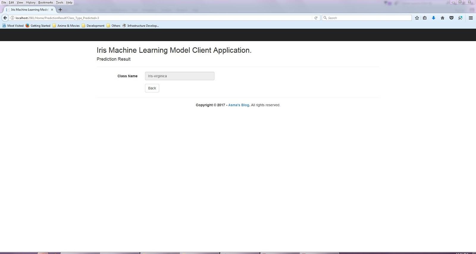 Azure Machine Learning: Iris Model Client Application