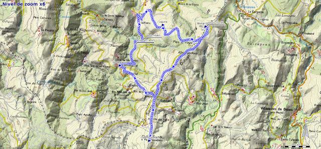 Mapa de la ruta al Abrego Ouroso y Outeiro Grande