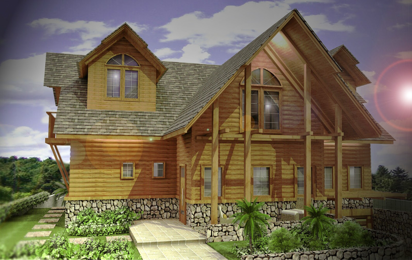 Desain Rumah 2 Lantai Kayu