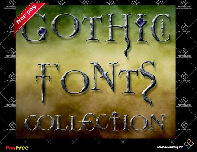 Abecedario de letras góticas para imprimir o usarlas en Photoshop