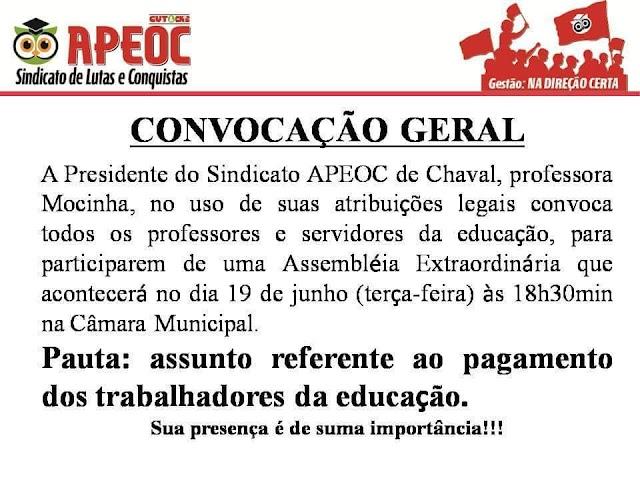 APEOC de Chaval realizará Assembleia Extraordinária nessa terça