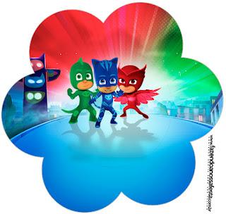 Toppers o Etiquetas de Fiesta de Super Héroes en Pijamas para Imprimir Gratis.