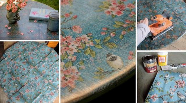 Decoupage με αποτέλεσμα Τεχνικής Παλαίωσης σε ξύλινο τραπέζι