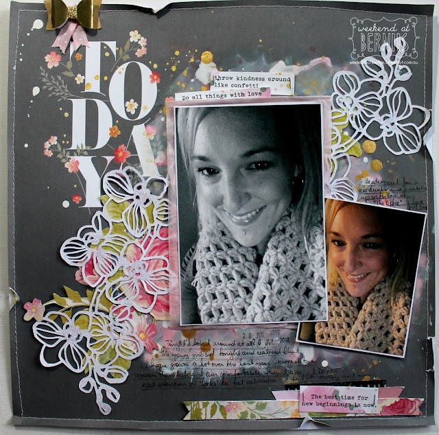 """Today"" layout by Bernii Miller for Sugar Maple paper co using the "" Cake for Breakfast"" kit."