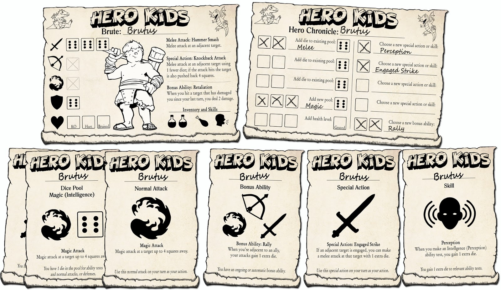 Hero Kids character advancement card spread