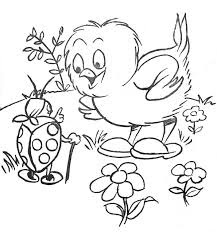 Lady Bug And Chicken At Garden Coloring Sheet