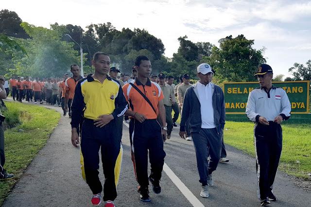 Kodim dan Polres Abdya Gelar Apel dan Olahraga Bersama