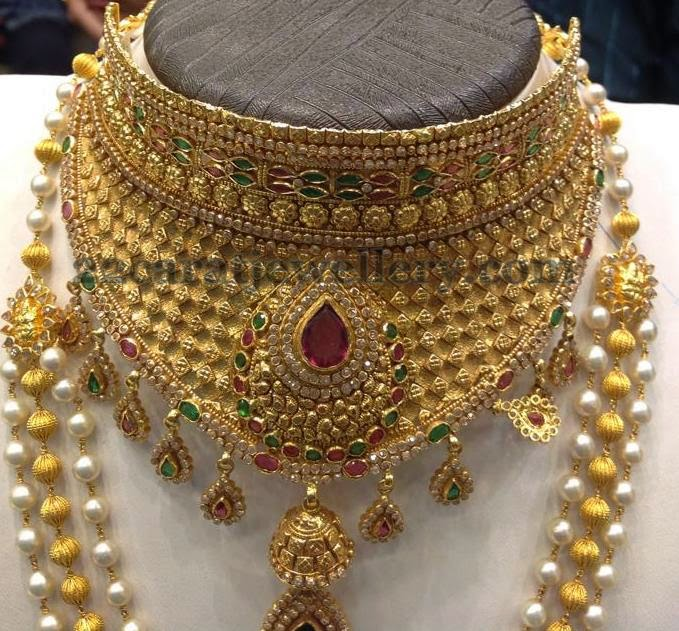 Heavy Necklace With Jhumka Locket Jewellery Designs