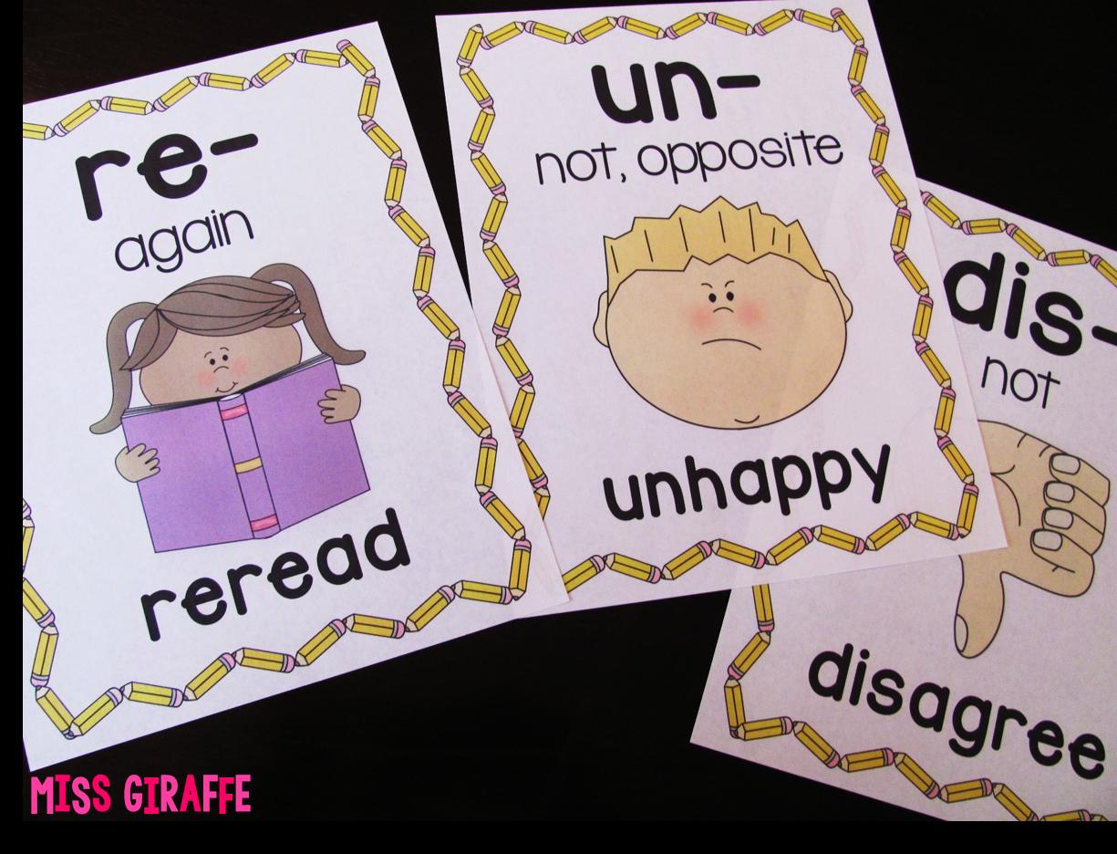 Miss Giraffe's Class: Prefixes and Suffixes Teaching Ideas for First