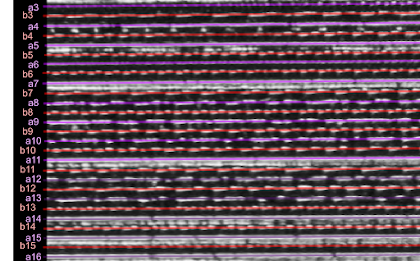 [Image: A zoomed-in view of the unwrapped grooves labeled and highlighted with colored lines.]