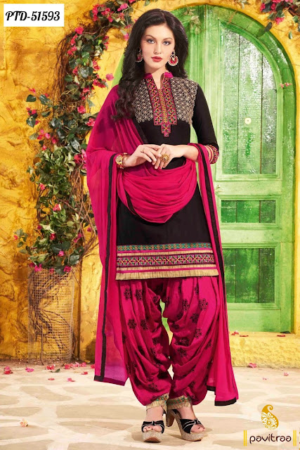 pink black color cotton embroidery punjabi patiala salwar suit fashion in Surat India