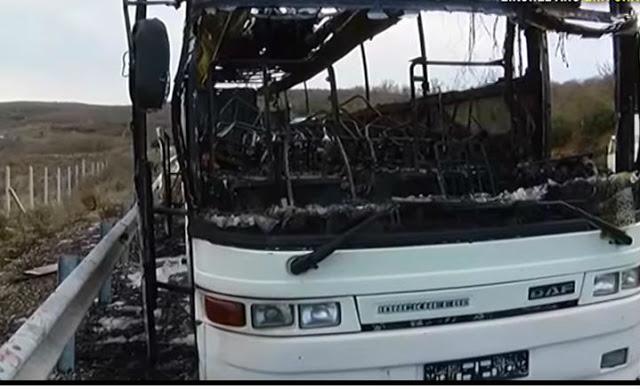Λεωφορείο κάηκε ολοσχερώς στην Εγνατία Οδό (ΒΙΝΤΕΟ)