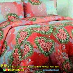 Sprei Custom Katun Lokal Dewasa Rose Love Merah Nk Bunga Floral Merah