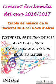 Divendres 30 de juny, 19.45 h Audició Fi de curs Societat  Musical Nova d'Alcoi