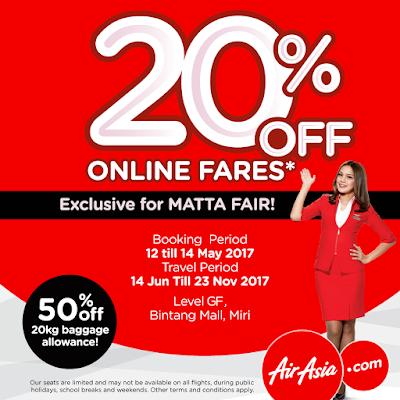 AirAsia Online Fares Discount Promo MATTA Fair Miri