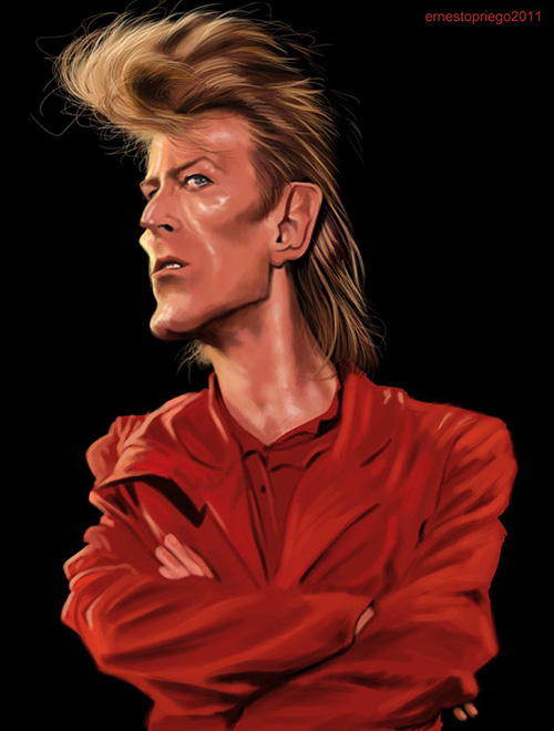 """Caricatura de """"David Bowie"""" por Ernesto Priego"""