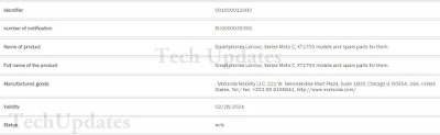 Moto C ( XT1750) Spotted at Russian certification website