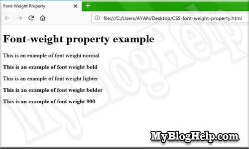 font weight property