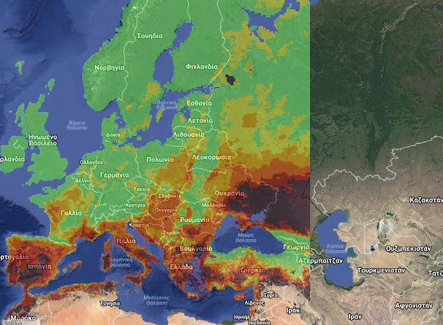 Οι δασικές πυρκαγιές στην Ευρώπη την τελευταία εβδομάδα