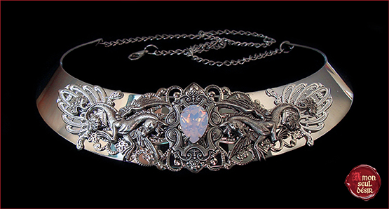 collier cheval ailes Pegase Pegasus Necklace rose water opal wings winged horse mythical mythology brical wedding