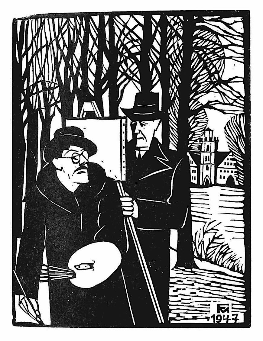 a Conrad Felixmuller woodcut print, 1947