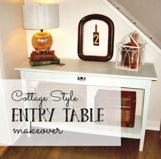 Add a shelf to a simple table with reclaimed wood for a cottage feel!