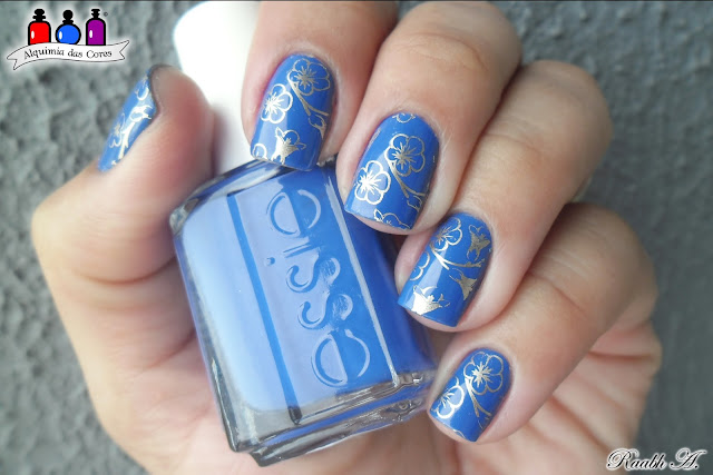 Butler Please, Azul Elétrico, Electric Blue, Good as Gold, BP-L029, Flores, nail art, esmalte, nail polish, Raabh A, Nail Stamp, unhas carimbadas,