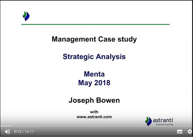 Strategic Analysis video of MCS May 2018 - CIMA Management Case Study - Menta