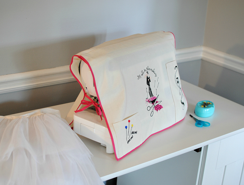Trash to couture diy embroidered sewing machine cover