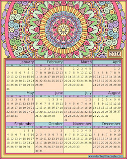 2016 Printable calendar- blank version available to color