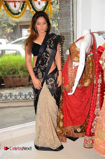 Actress Neetu Chandra Stills in Black Saree at Designer Sandhya Singh's Store Launch  0061.jpg