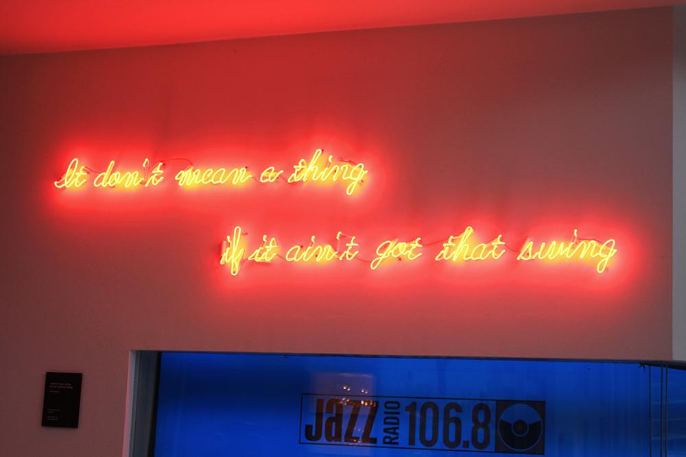 Neon jazz sign at Ellington Hotel, Berlin - travel & lifestyle blog